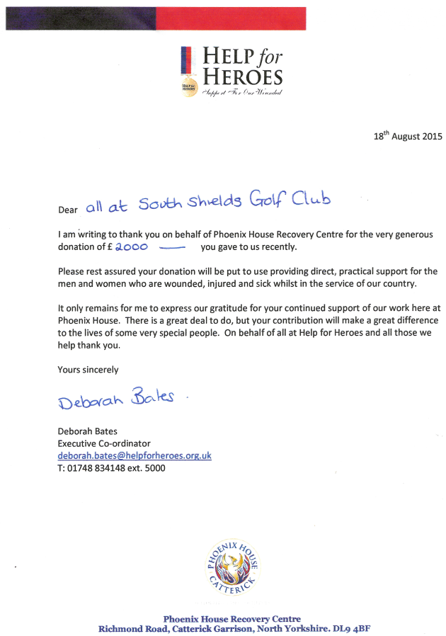 South shields golf club thankyou letter from help for heroes thankyou letter from help for heroes altavistaventures Images